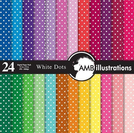 White polka dot digital papers  AMBillustrations    Mygrafico