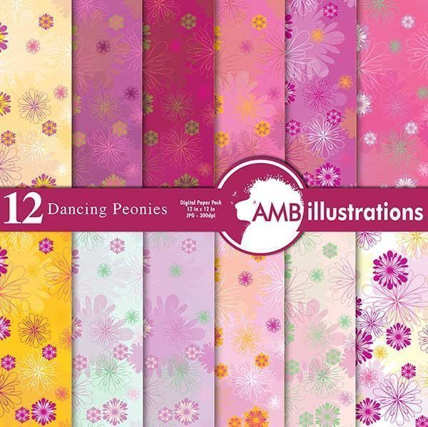 Dancing flowers digital paper  AMBillustrations    Mygrafico