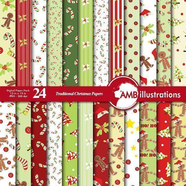 Whimsical Christmas Paper Pack  AMBillustrations    Mygrafico
