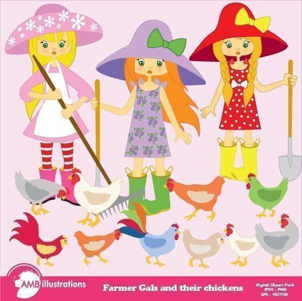 Farmer Girls and chickens clipart  AMBillustrations    Mygrafico