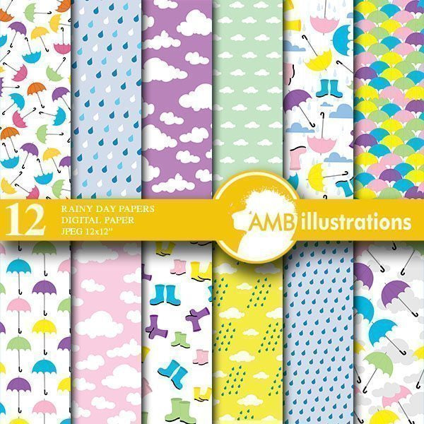 Rainy Day Digital Paper  AMBillustrations    Mygrafico
