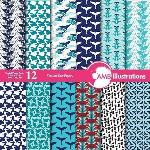 Nautical Seas Papers Digital Papers & Background AMBillustrations    Mygrafico