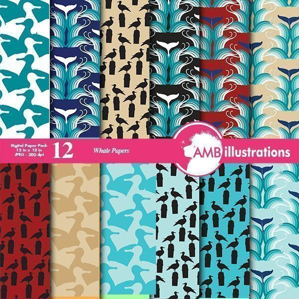 Whale tail scrapbook papers  AMBillustrations    Mygrafico