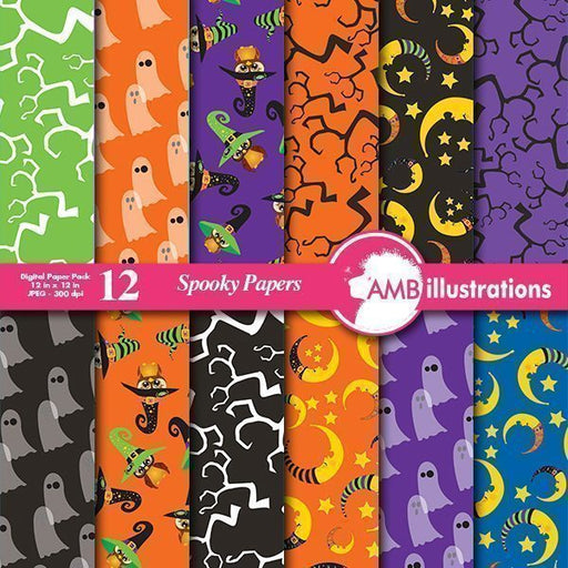 Halloween spooky papers  AMBillustrations    Mygrafico