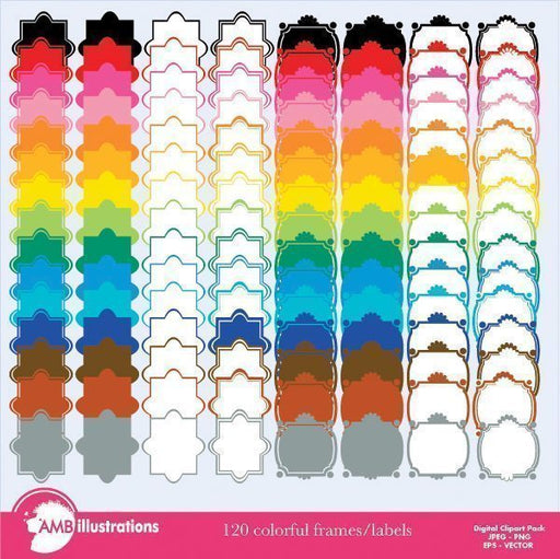 Labels in rainbow colors Clipart  AMBillustrations    Mygrafico