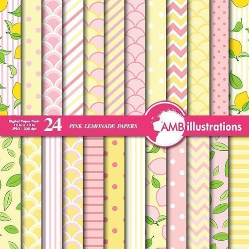 Pink and Yellow Lemonade Papers Digital Papers & Background AMBillustrations    Mygrafico