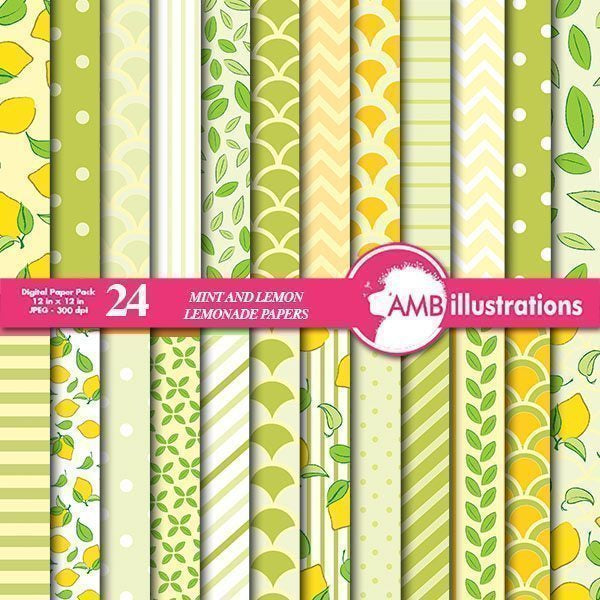 Lemonade papers in mint and yellow  AMBillustrations    Mygrafico