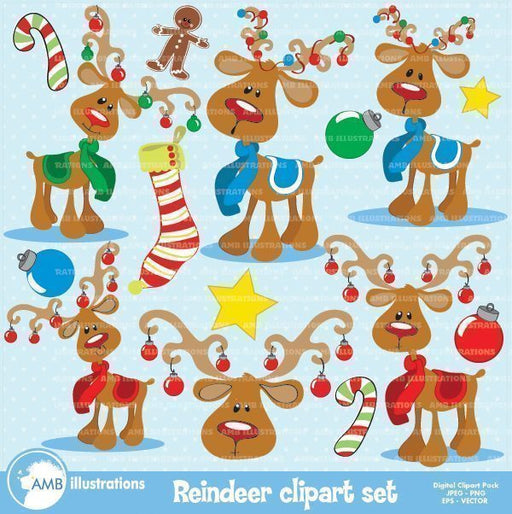 Christmas Reindeer Clipart  AMBillustrations    Mygrafico