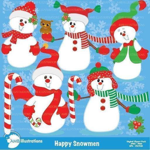 Happy Snowmen clipart  AMBillustrations    Mygrafico