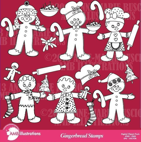 Gingerbread stamps set  AMBillustrations    Mygrafico
