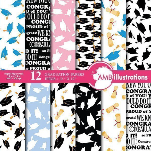Graduation Digital papers  AMBillustrations    Mygrafico