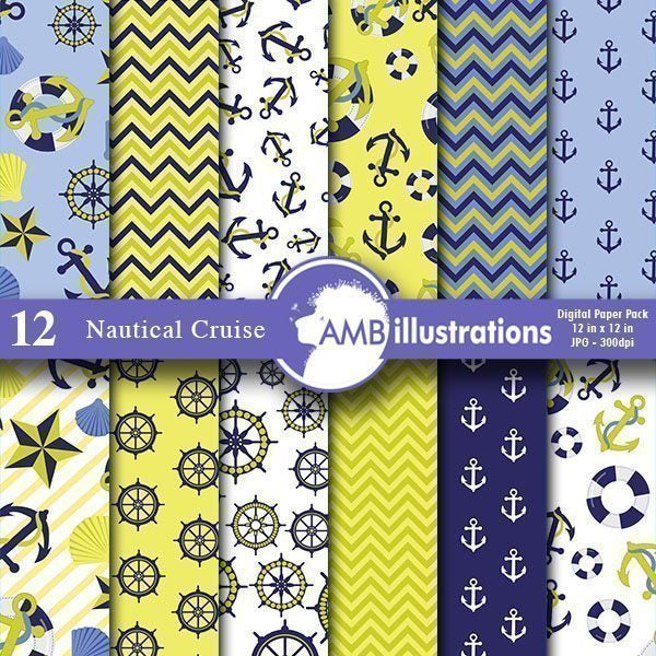 Nautical cruise Green digital papers  AMBillustrations    Mygrafico