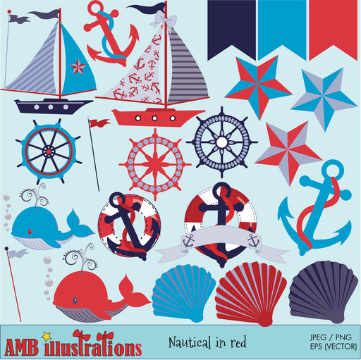 Nautical Clipart in reds & blues Cliparts AMBillustrations    Mygrafico
