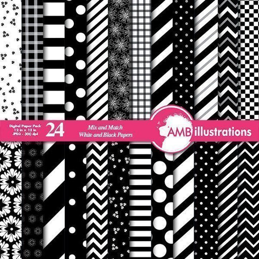 Black and white mix and match digital papers  AMBillustrations    Mygrafico