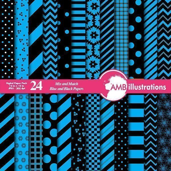 Blue and black mixed digital papers  AMBillustrations    Mygrafico
