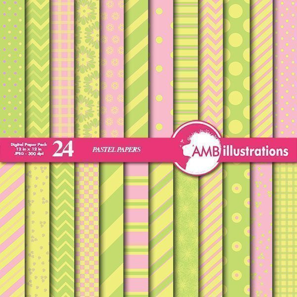 Mix and match pink, yellow and green papers  AMBillustrations    Mygrafico