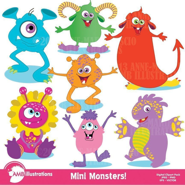 Monsters- mini monsters clipart  AMBillustrations    Mygrafico