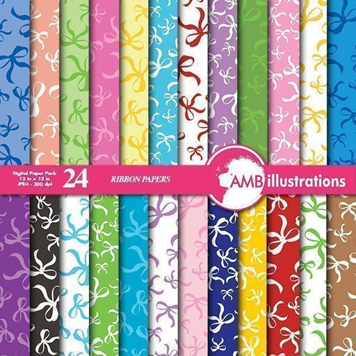 Ribbons Digital Papers and backgrounds  AMBillustrations    Mygrafico