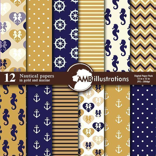 Nautical papers in gold and Marine, Coastal papers in pink  AMBillustrations    Mygrafico