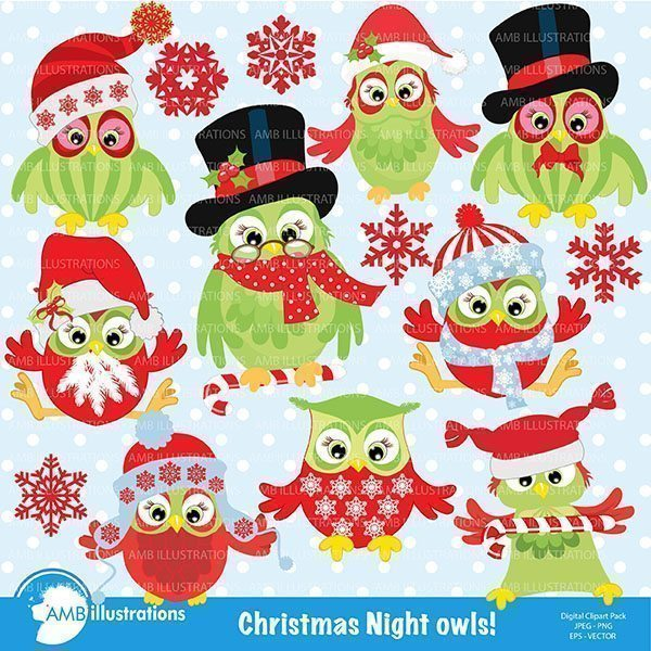 Christmas Night Owls  AMBillustrations    Mygrafico