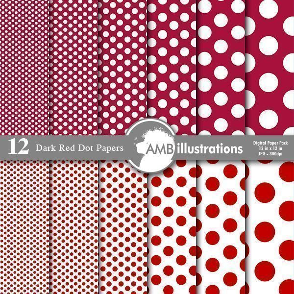 Dark Red Dots Digital Papers and Backgrounds  AMBillustrations    Mygrafico