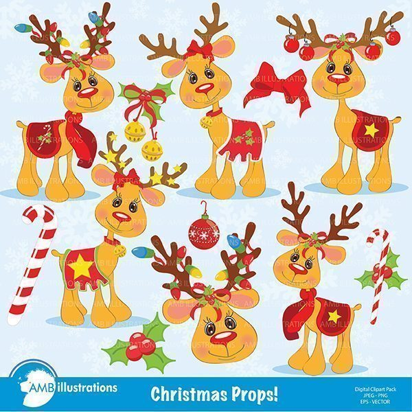 Christmas Happy Reindeer Clipart  AMBillustrations    Mygrafico