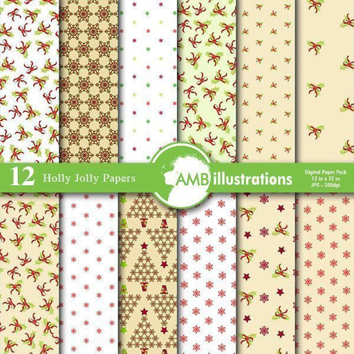Christmas Holly Jolly Papers Digital Papers & Background AMBillustrations    Mygrafico