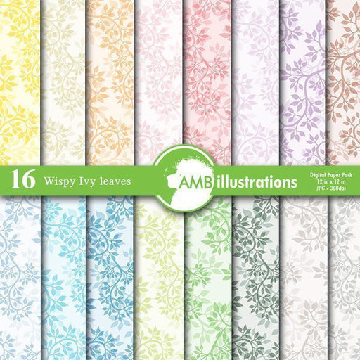 Ivy pattern digital papers, leaves, damask pastels papers.  AMBillustrations    Mygrafico