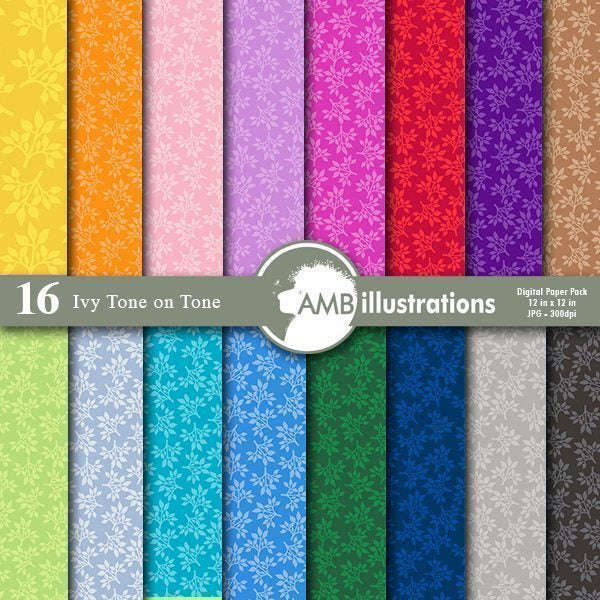 Tone on Tone Ivy Patterns Digital Papers  AMBillustrations    Mygrafico