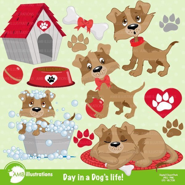 Dog clipart, Puppy clip art set  AMBillustrations    Mygrafico