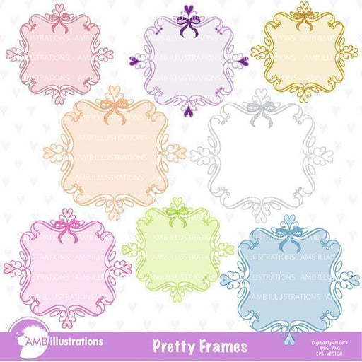 Pretty pastel frames and labels  AMBillustrations    Mygrafico