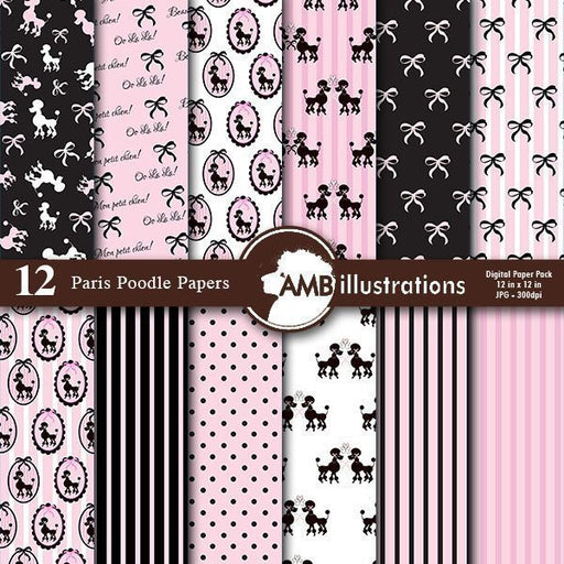 Paris Poodle Digital papers  AMBillustrations    Mygrafico