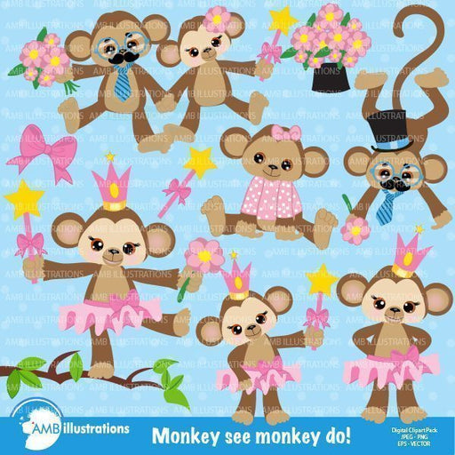Girl monkey love clipart  AMBillustrations    Mygrafico