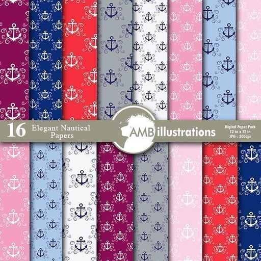 Elegant Nautical Papers  AMBillustrations    Mygrafico