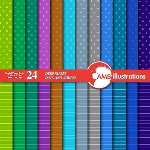 Dots and Stripes Digital Papers  AMBillustrations    Mygrafico
