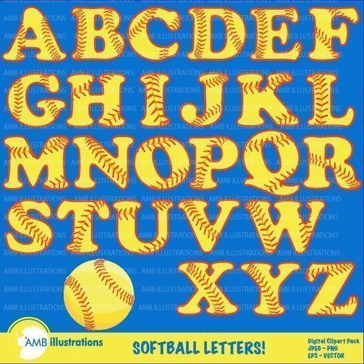 Softball Letters Clipart  AMBillustrations    Mygrafico