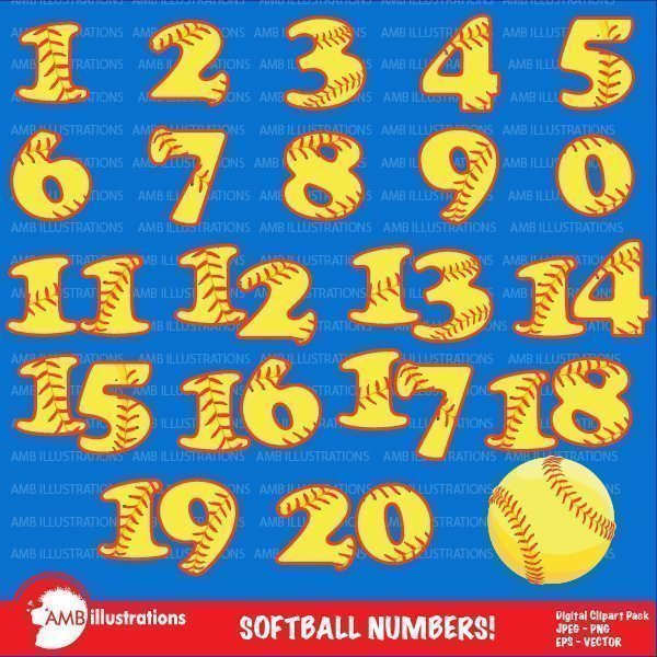 Softball Numbers  AMBillustrations    Mygrafico