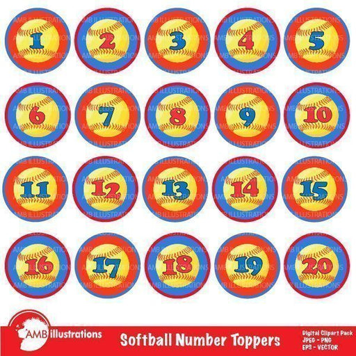 Baseball Number Toppers Clipart  AMBillustrations    Mygrafico