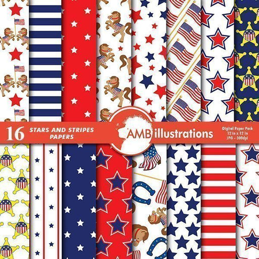 Stars and stripes papers  AMBillustrations    Mygrafico