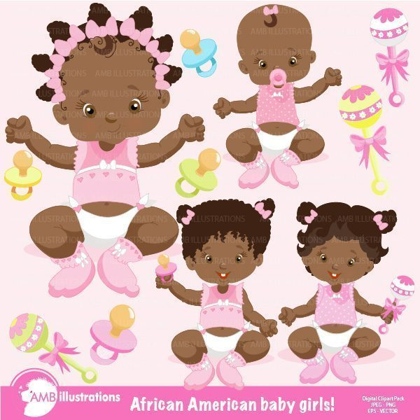 African American Baby Girl Clipart  AMBillustrations    Mygrafico