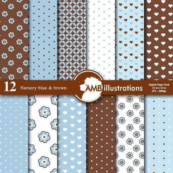Nursery blue and Brown Digital Papers  AMBillustrations    Mygrafico