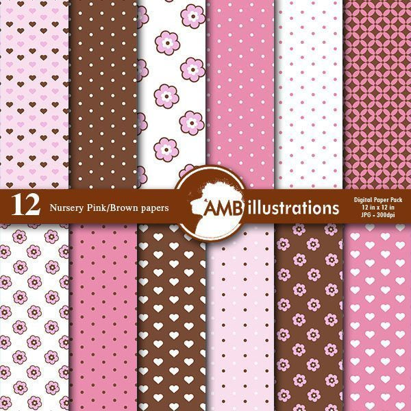 Nursery Pastel Blue and pink scrapbook papers  AMBillustrations    Mygrafico