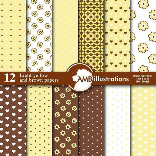 Light yellow mix and match digital papers  AMBillustrations    Mygrafico