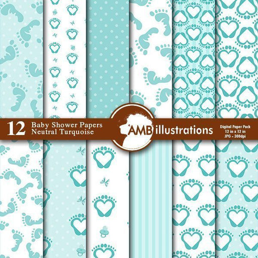 Baby Shower Digital papers  AMBillustrations    Mygrafico