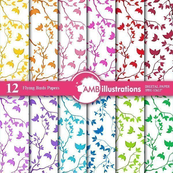 Bird and Branch Digital papers  AMBillustrations    Mygrafico