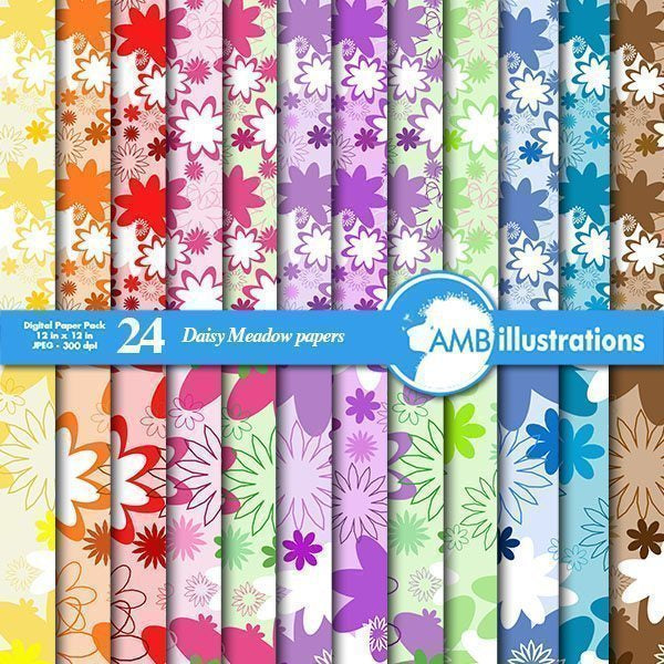 Daisy Digital Papers  AMBillustrations    Mygrafico