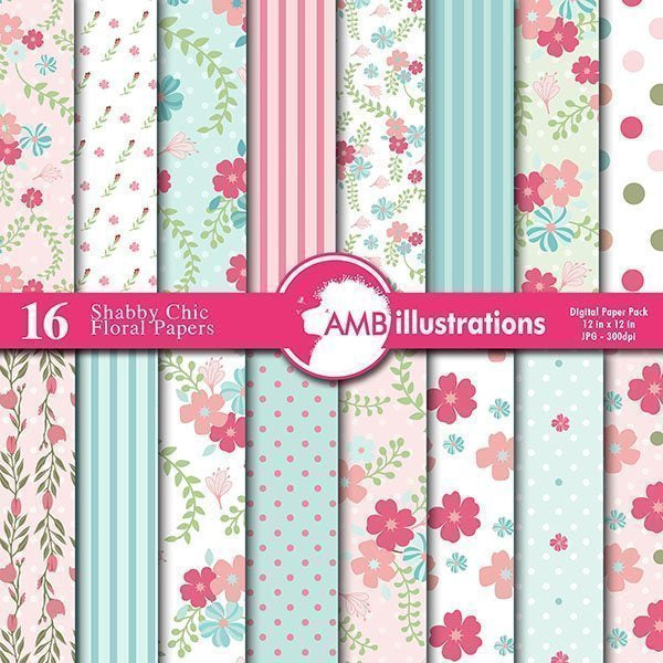 Floral Shabby chic Papers  AMBillustrations    Mygrafico