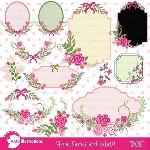 Floral Frames and Labels clipart  AMBillustrations    Mygrafico
