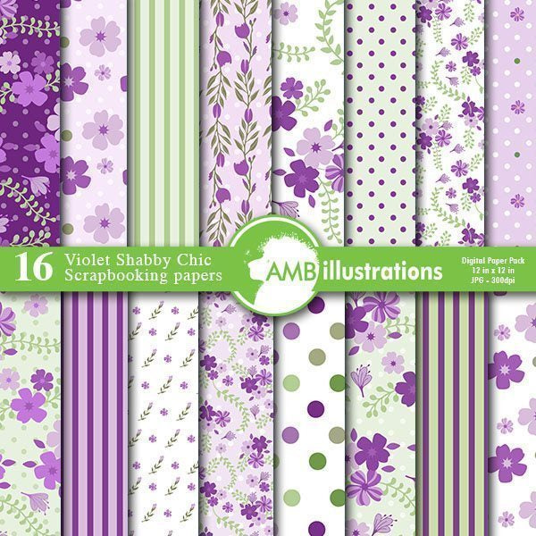 Floral Shabby chic papers in lavender  AMBillustrations    Mygrafico