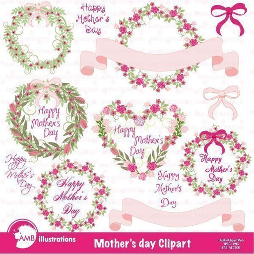 Mother's Day floral clipart  AMBillustrations    Mygrafico